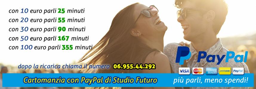 Ricarica cartomanzia a bassissimo costo con PayPal e carta di credito